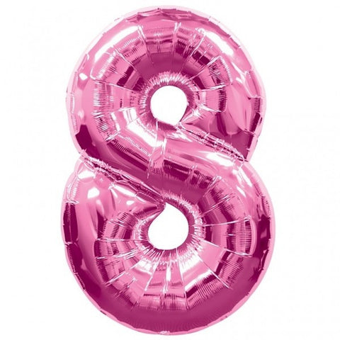 Big Number 8 Pink Helium Foil Balloon