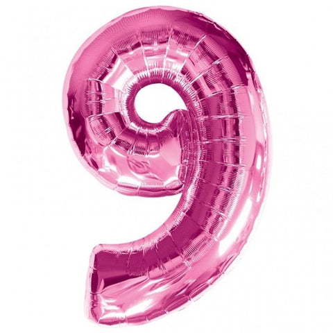 Big Number 9 Pink Helium Foil Balloon