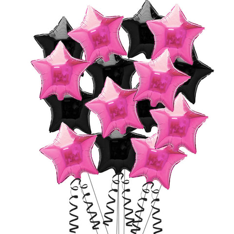 15 Pink and Black Star Foil Helium Balloons