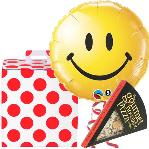 Smiley Face Helium Balloon and Chocolate Pizza Slice