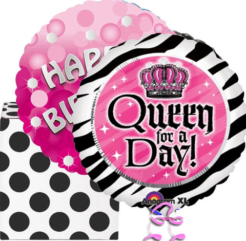 Queen For The Day Birthday Helium Foil Balloon Duo