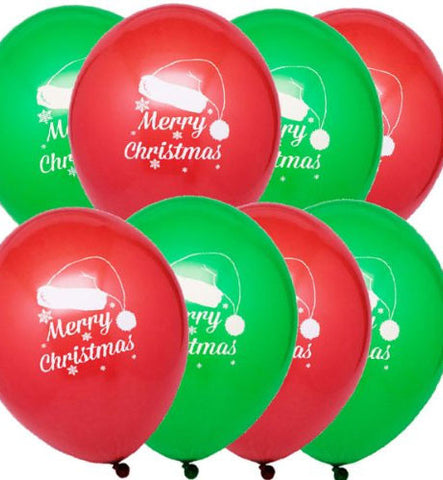 10 Red and Green Santa Hat Latex Balloons