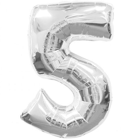 Big Number 5 Silver Foil Balloon
