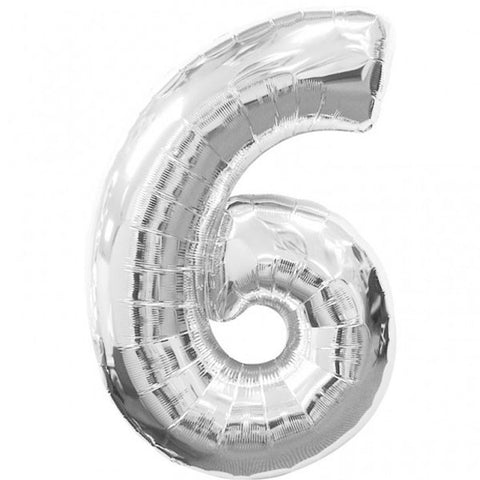 Big Number 6 Silver Foil Balloon