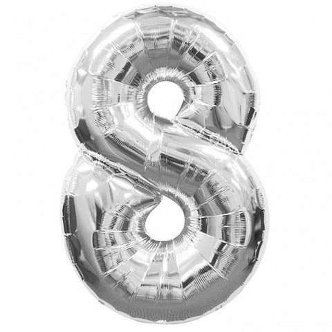 Big Number 8 Silver Helium Foil Balloon