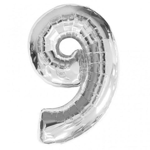 Big Number 9 Silver Helium Foil Balloon