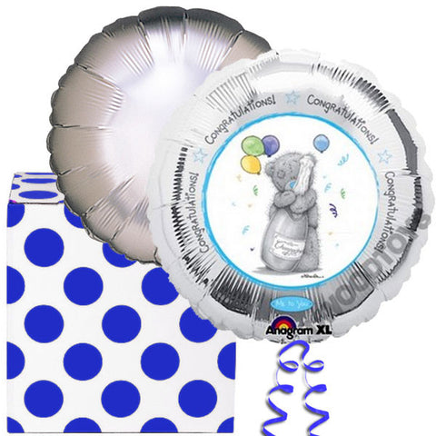 Silver Tatty Teddy Helium Balloons Duo