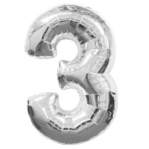 Big Number 3 Foil Balloon Silver