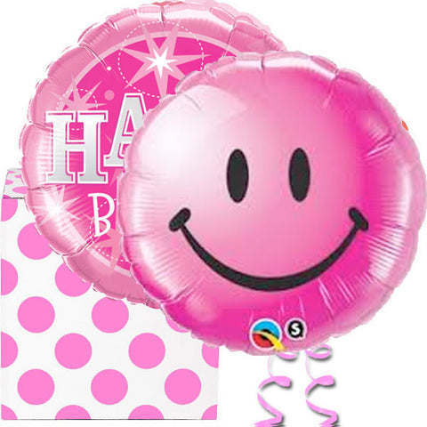 Pink Smiley Face Happy Birthday Helium Foil Balloon Duo