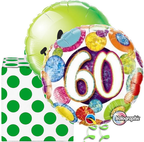 60th Birthday Spotty Glitz Helium Balloon Duo