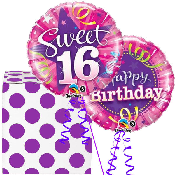 Sweet 16th Birthday Helium Balloon In A Box Duo