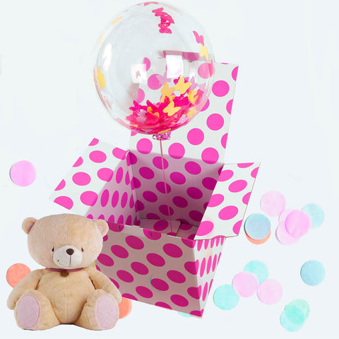 Blissful Butterfly Confetti Filled Balloon and Teddy
