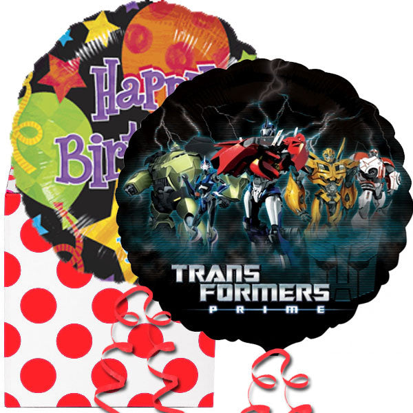 Happy Birthday and Transformers Prime Helium Balloon in a Box