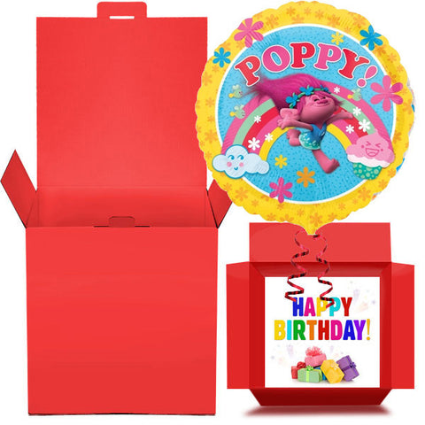 Poppy Troll Happy Birthday Foil Balloon in a Box Gift Free 1st Class Delivery