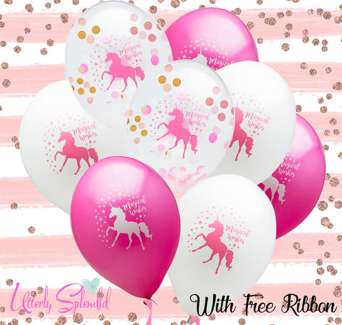 8 Unicorn Balloons with Free Ribbon (2 confetti Filled)
