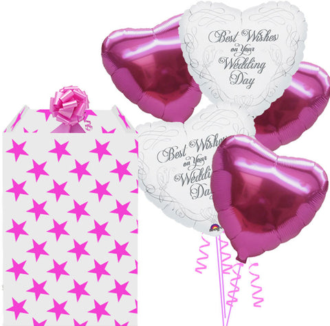 Wedding Wishes and Pink Foil Heart Balloon Bouquet