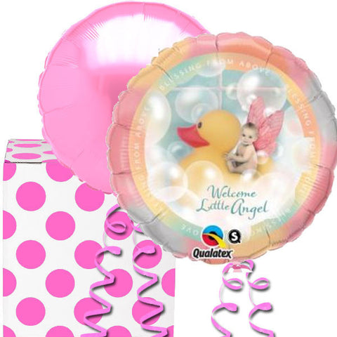 Welcome Little Angel Pink Foil Balloon Duo