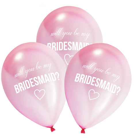 "8 Pretty Pink ""Will You Be My Bridesmaid"" Balloons"