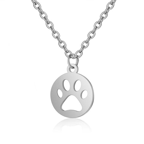 Round Paw Pendant Necklace