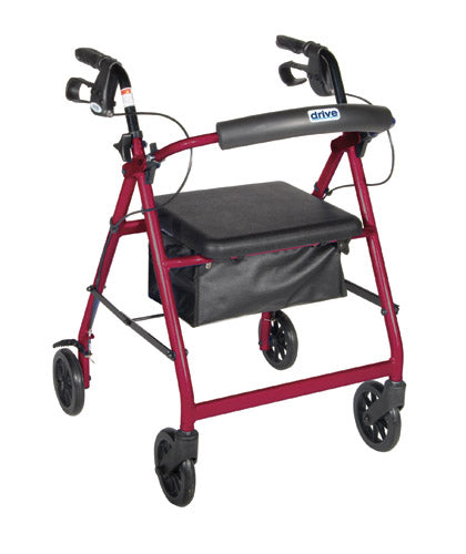 Rollator 4-Wheel with Pouch & Padded Seat  Red - Drive