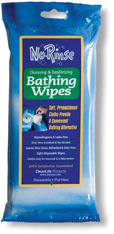No Rinse Bathing Wipes Retail Package  Pk-8