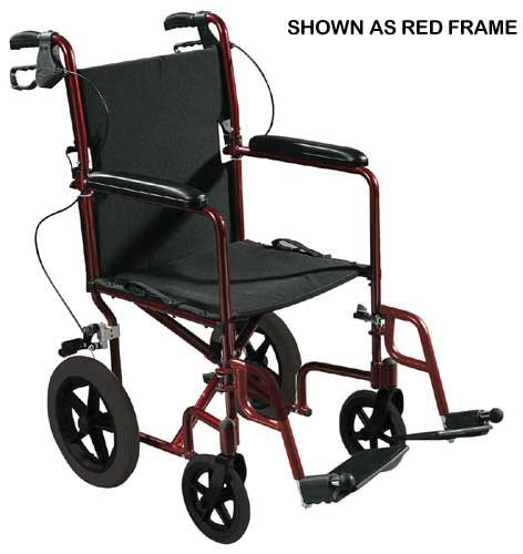 Expedition Aluminum Transport Chair w-Loop Locks  19  Red