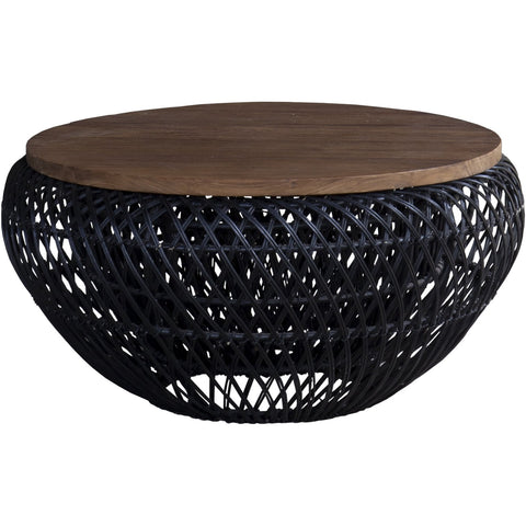 Wave round coffee table small black