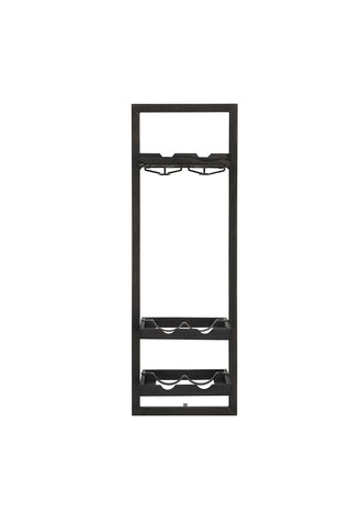 Wine rack 6 bottles & glass holder black d-Bodhi