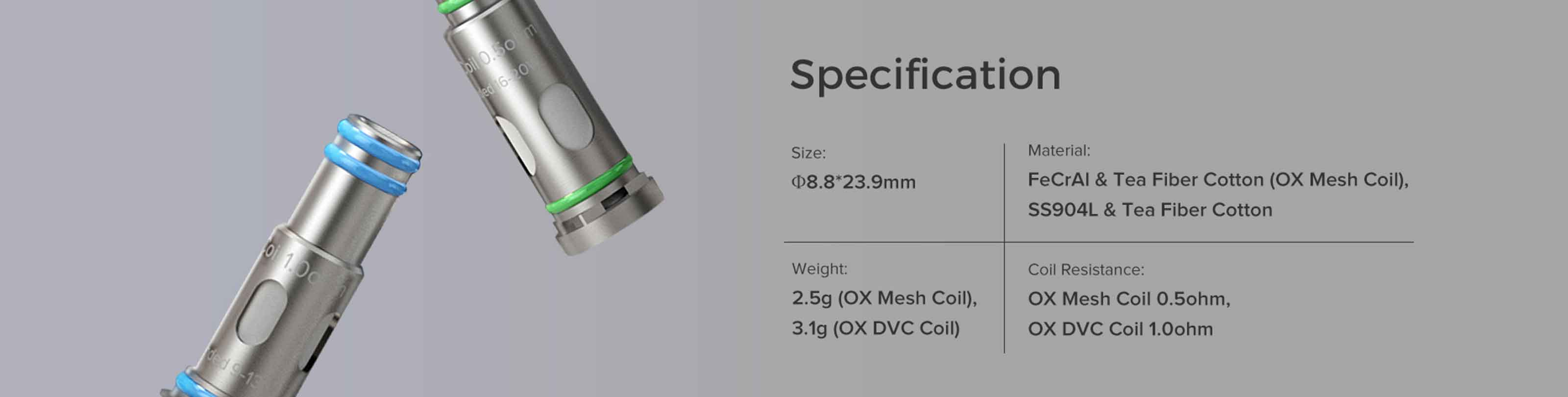 FreeMax Onnix Coil Specifications