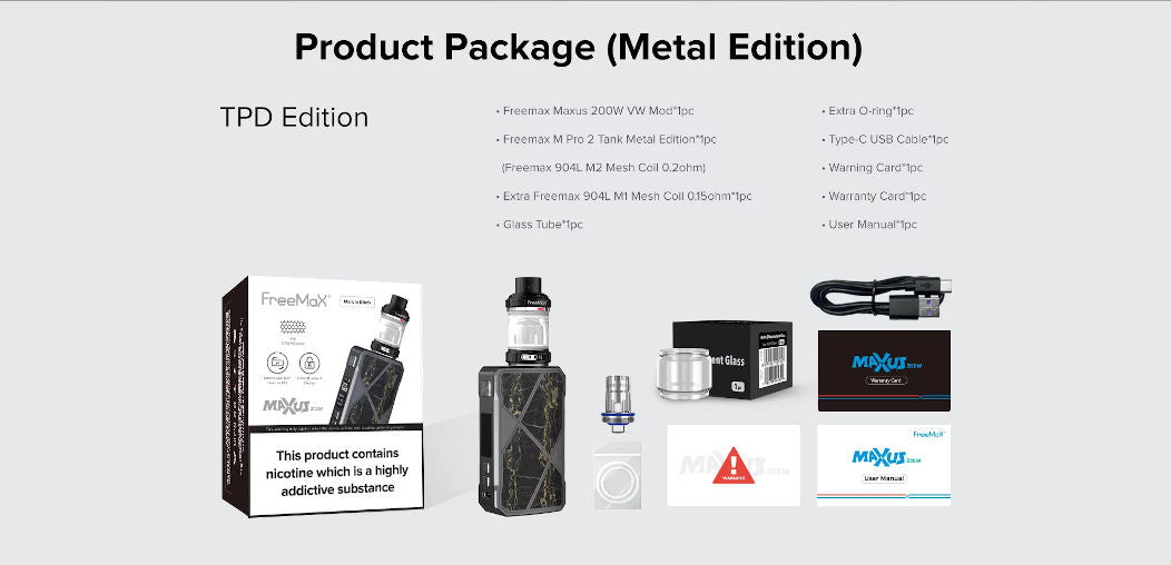 Whats Included with the Maxus 200W Metal edition
