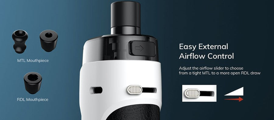 Innokin Kroma Z Vape Pod Kit, Easy external airflow control, asjust the adjust the airflow slider to choose from light MTL to more open DTL draw.