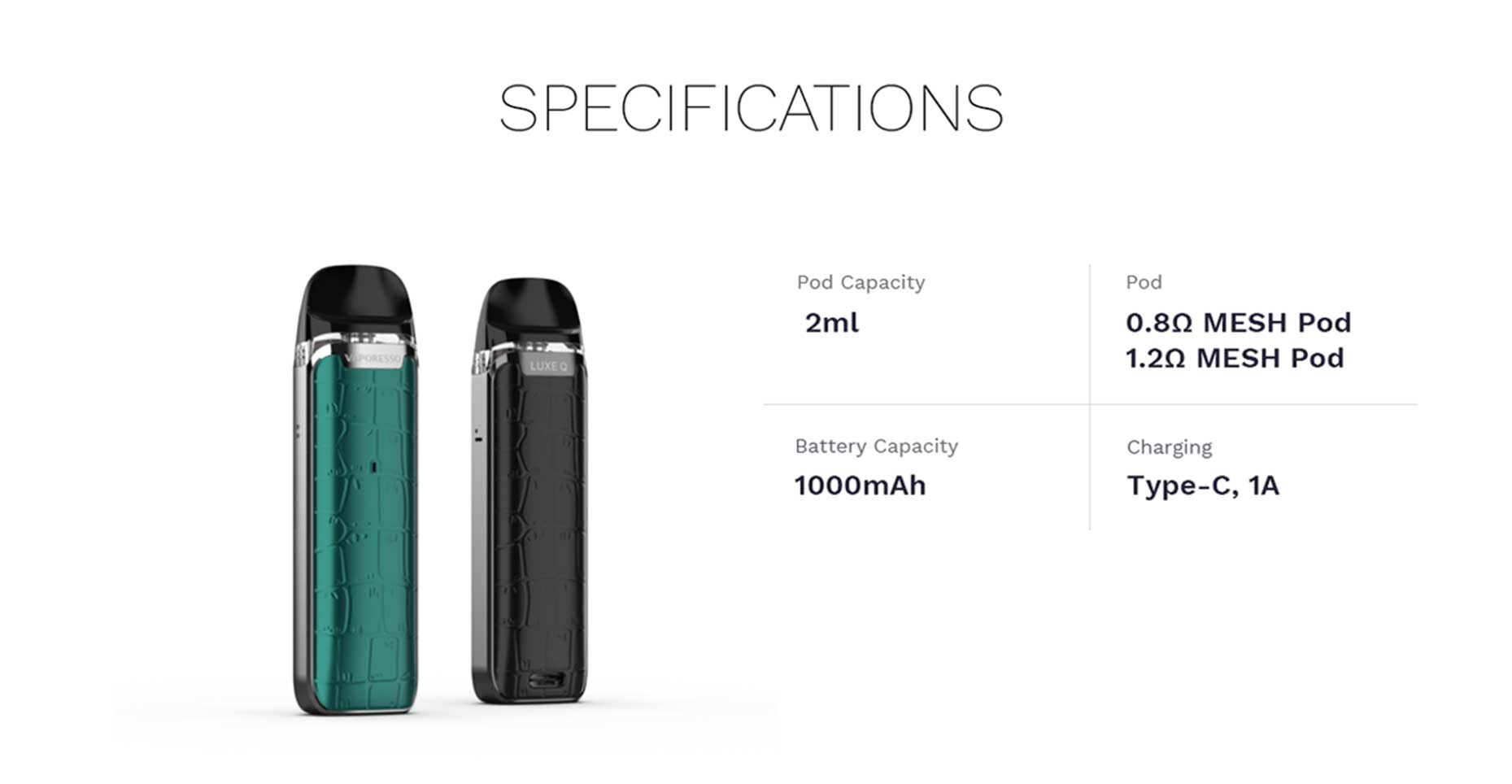 Luxe Q Vape Pod Kit by Vaporesso Specifications