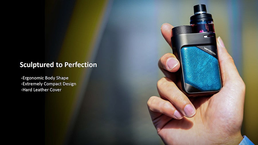 Vaporesso PX80 Vape Pod Kit sculptured to perfection, featuring an ergonomic body shape, compact design and hard leather cover