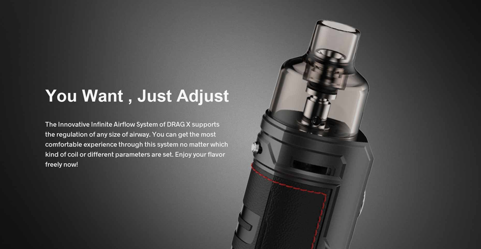 Drag X Vape Mod Pod Kit Silver Edition by Voopoo Airflow