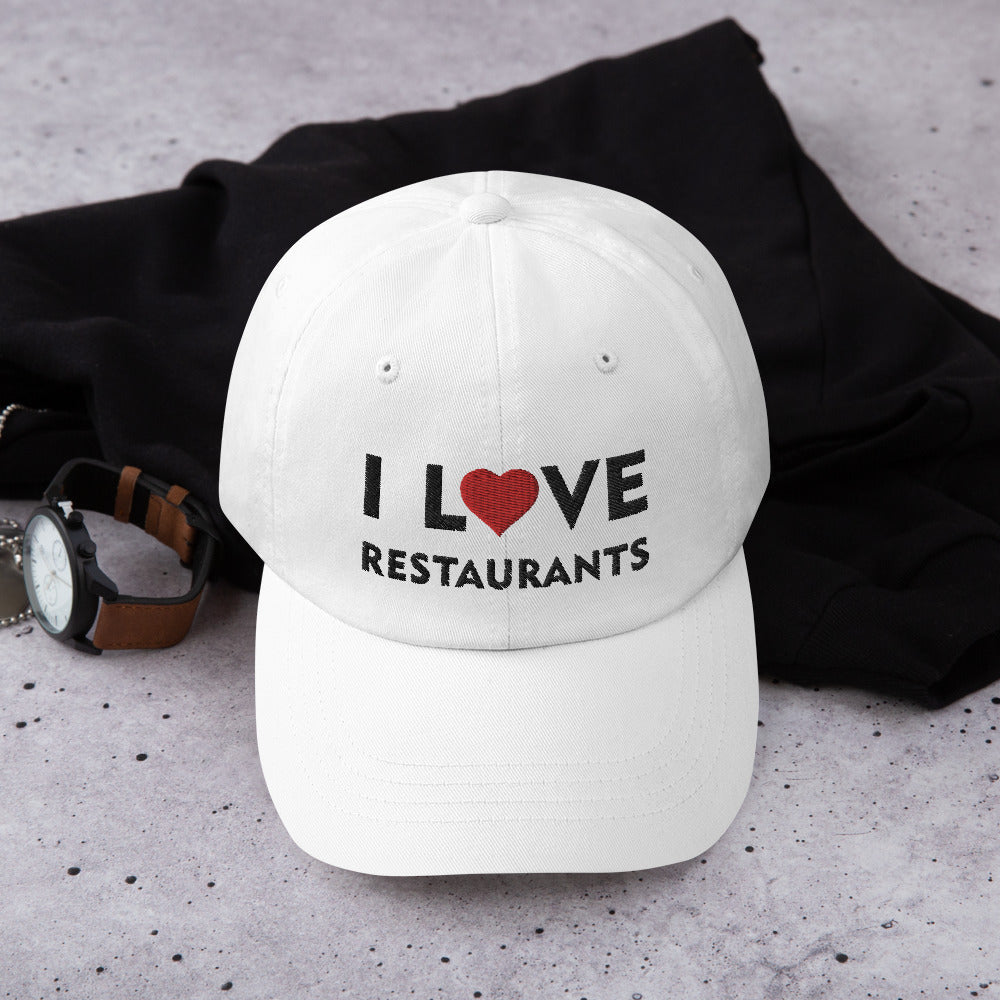 I Love Restaurants White Dad Hat