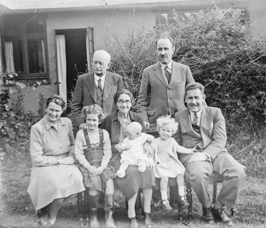 black and white image of large family