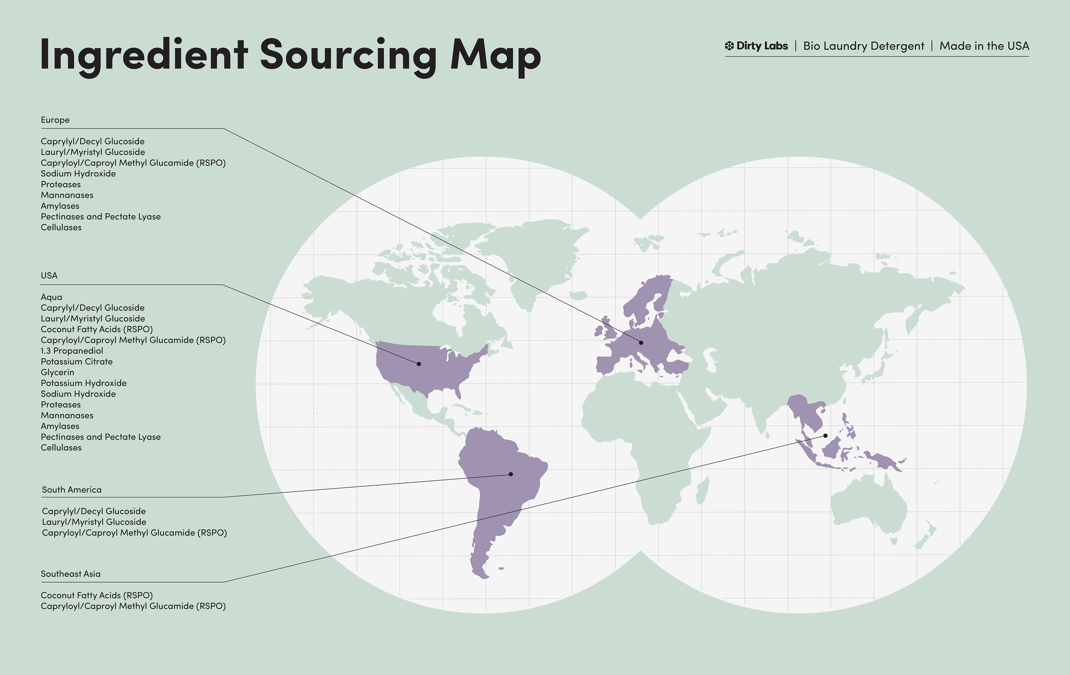A map identifies the locations from which our ingredients are sourced.