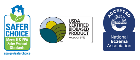 Three logos represent Dirty Labs' EPA Safer Choice and USDA Certified Biobased certifications and National Eczema Association Seal of Acceptance.