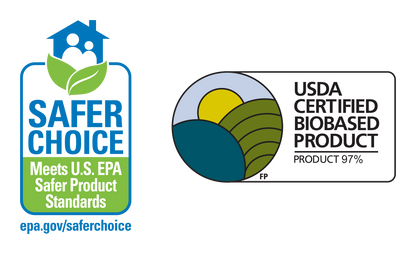 Two logos represent Dirty Labs' EPA Safer Choice and USDA Certified Biobased certifications.