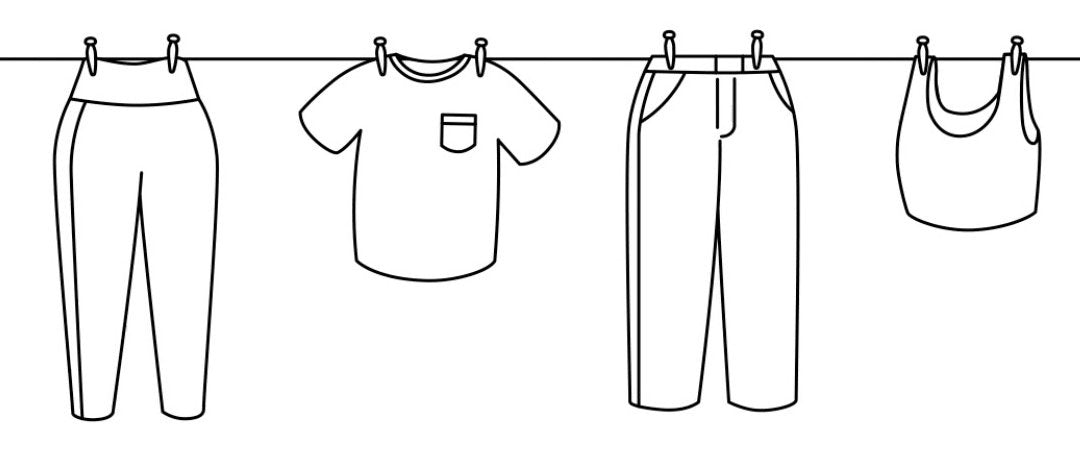 Line drawing of clothing hanging from a clothes line.