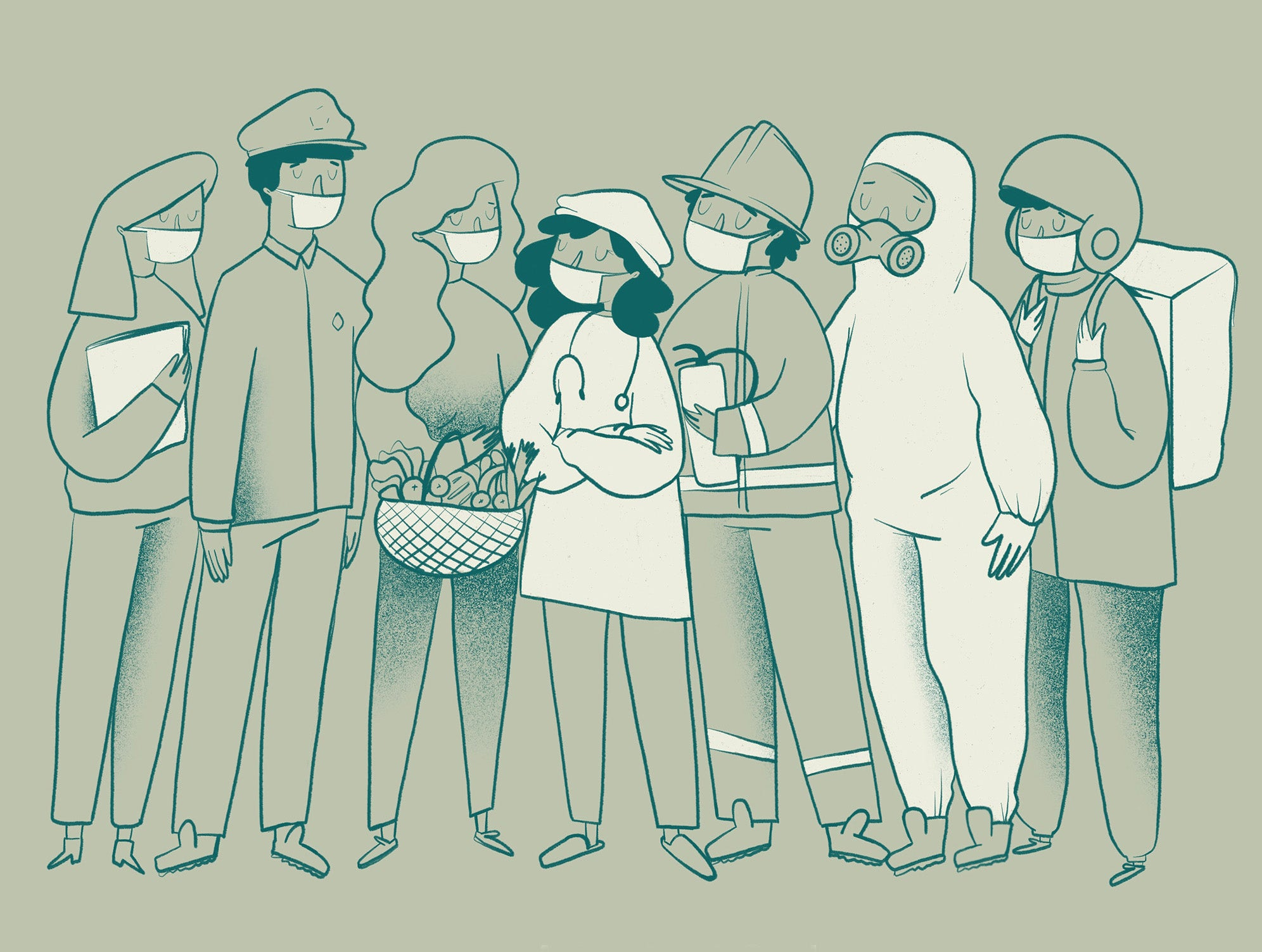 A cartoon illustration of workers wearing face masks.