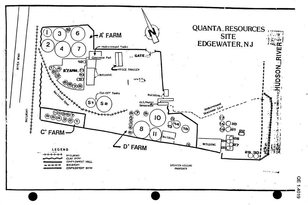 An old photocopied map details the Quanta Resources oil processing facility in Edgewater, New Jersey.