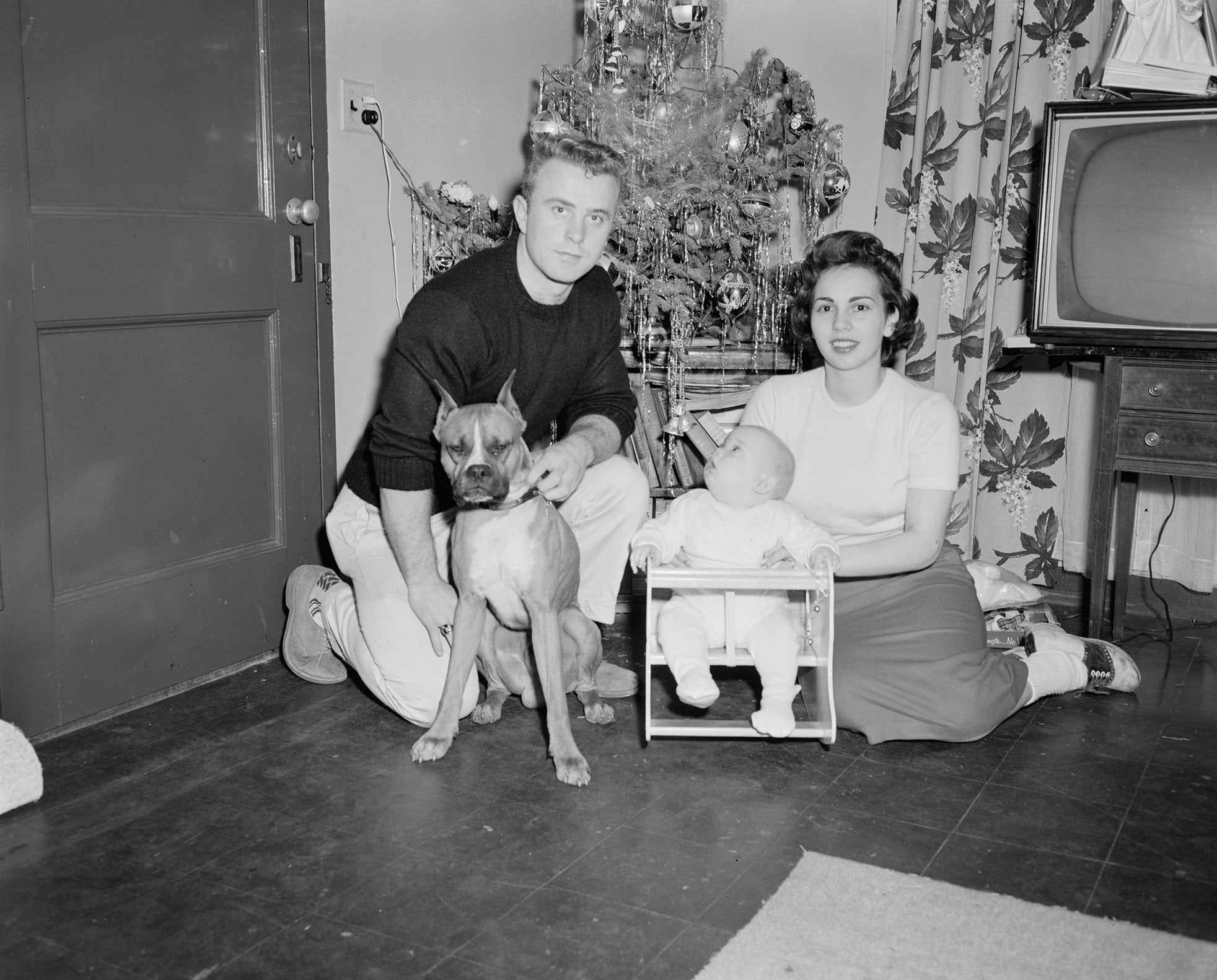A vintage family portrait of a man and his wife, a newborn baby, and a dog.