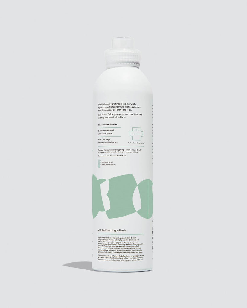 The back of the Dirty Labs Signature Bio Laundry Detergent bottle featuring green enzyme shapes.