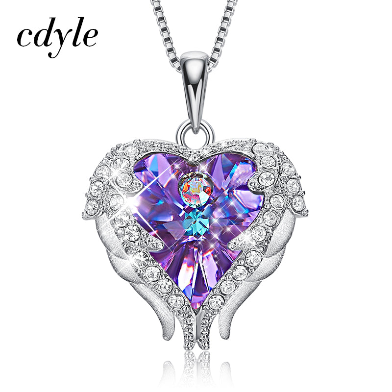 Cdyle Top Quality 925 Sterling Silver Jewelry Fashion Women Four Colors Crystal Heart Angel Wing Pendants Necklace - FTNUP