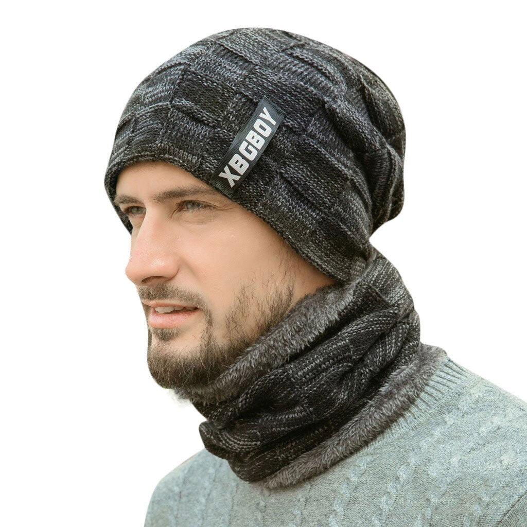 2pcs Ski Cap And Scarf Set Unisex Fashion Cold Warm Hat Winter Knitted Skullies Beanies - FTNUP
