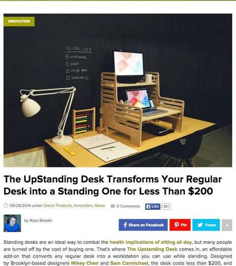 Inhabitat: The UpStanding Desk Transforms Your Regular Desk into a Standing One for Less Than $200