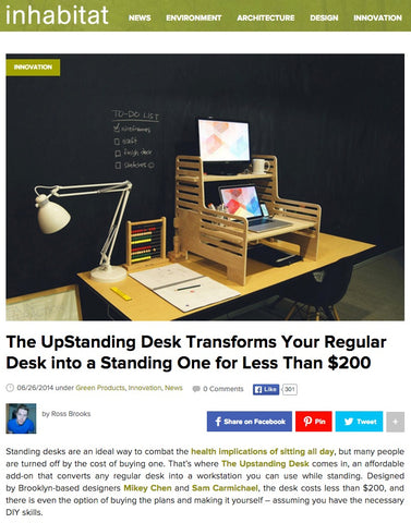 Inhabitat article about The UpStanding Desk