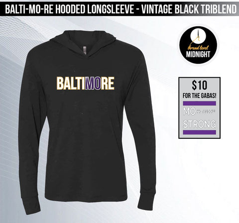 BaltiMOre - Vintage Black Hooded Long-sleeved Triblend Tee