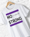 Mo Strong - White Triblend T - Purple Print